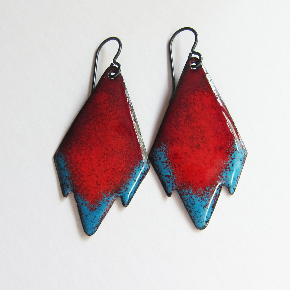 Red tribal earrings in teal and red enamel