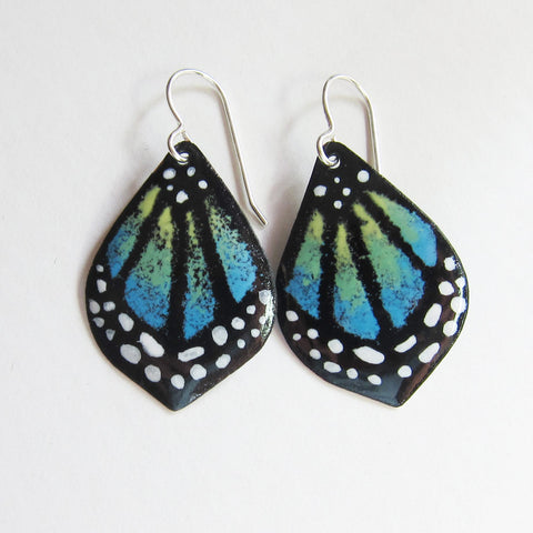Blue Petite Butterfly Earrings - Hand-painted in Enamels