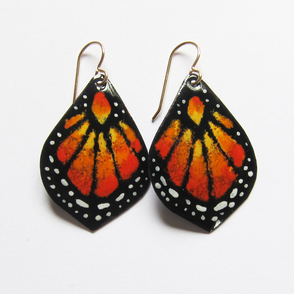 Small orange enamel butterfly earrings on gold wires