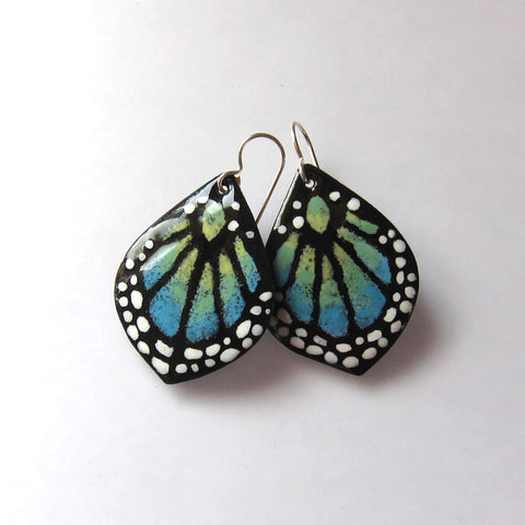 Blue Enamel Butterfly Earrings - Silver Wires