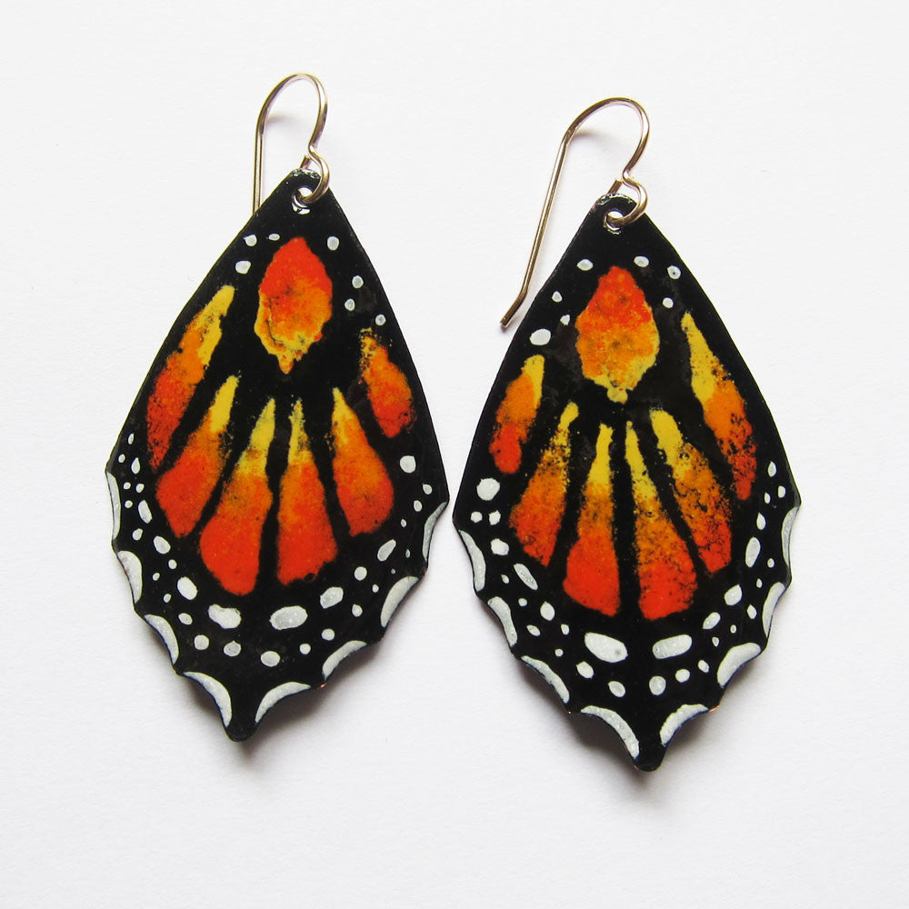 Monarch butterfly earrings in enamel