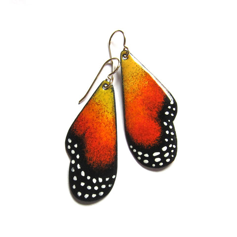 Butterfly Wing Earrings in Orange Enamel - Hand-painted Statement Jewelry