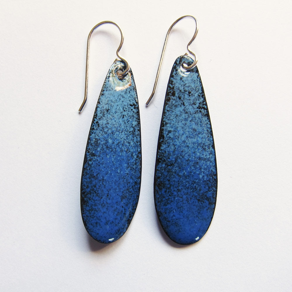 blue enamel teardrop earrings