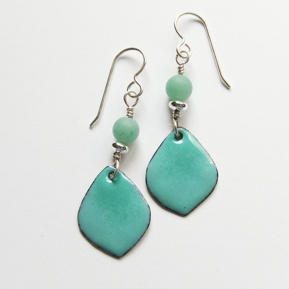 Delicate aqua and mint green petal enamel drop earrings