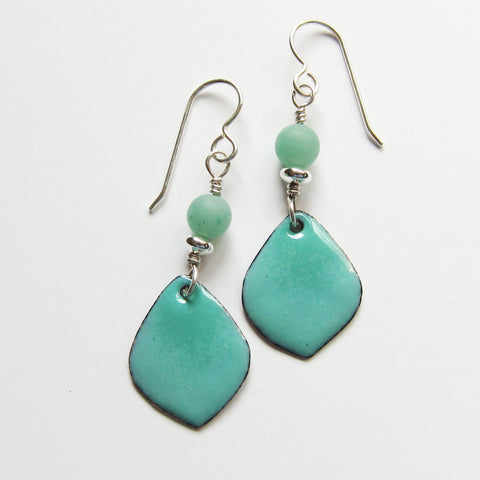Delicate Colorful Aqua / Mint Green Petal Enamel Drop Earrings