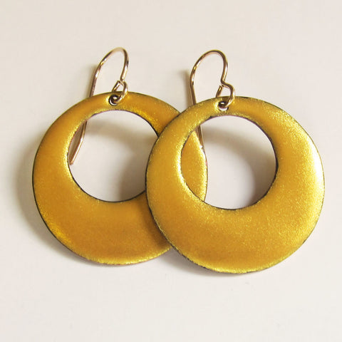 Elegant Enamel Gold Hoop Dangle Earrings - Gold Wires