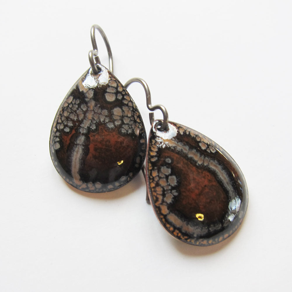 Brown Enamel Teardrop Earrings - Niobium Ear Wires