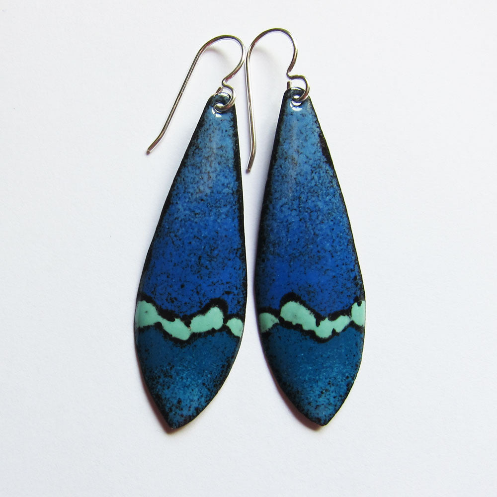 Blue and Aqua wearable art earrings