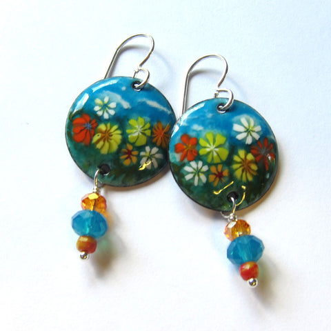 Flower Garden Enamel Earrings - Hand-painted Artisan Jewelry
