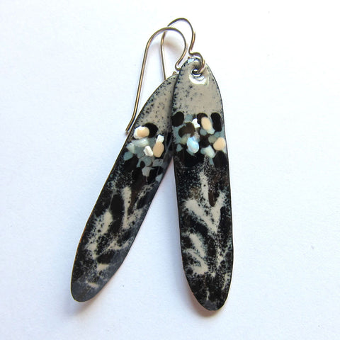 Black / Taupe Enamel Stick Earrings - Art Jewelry