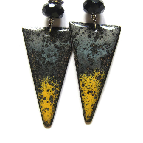 Yellow and Gray Enamel Triangle Earrings - Handmade Artisan Jewelry - Leverback Earrings