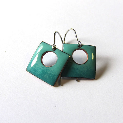 Teal Green Enamel Square Earrings