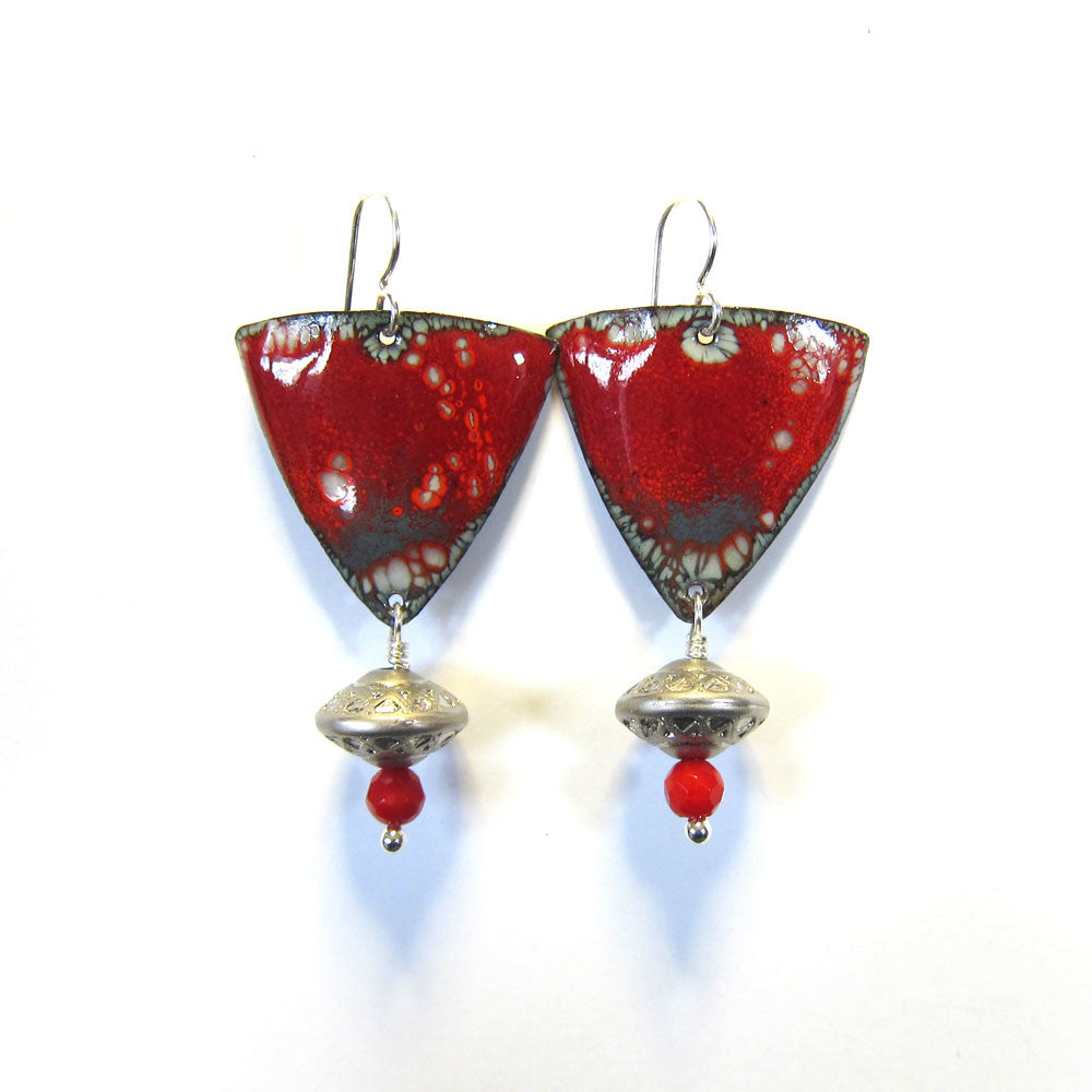 Red and silver enamel dangle earrings