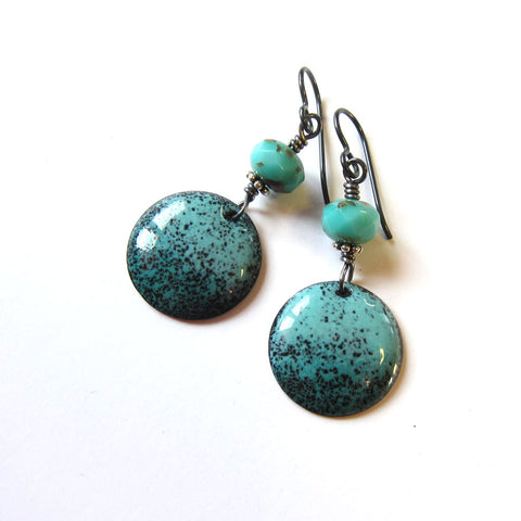 Turquoise Green Enamel Disc Dangle Earrings on Niobium Wires