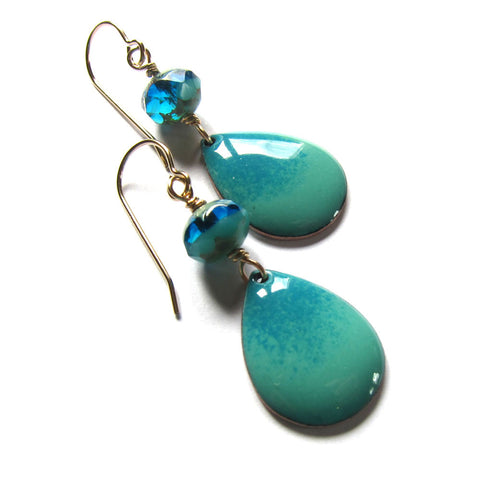 Blue and Green Enameled Drop Earrings - Gold Ear Wires