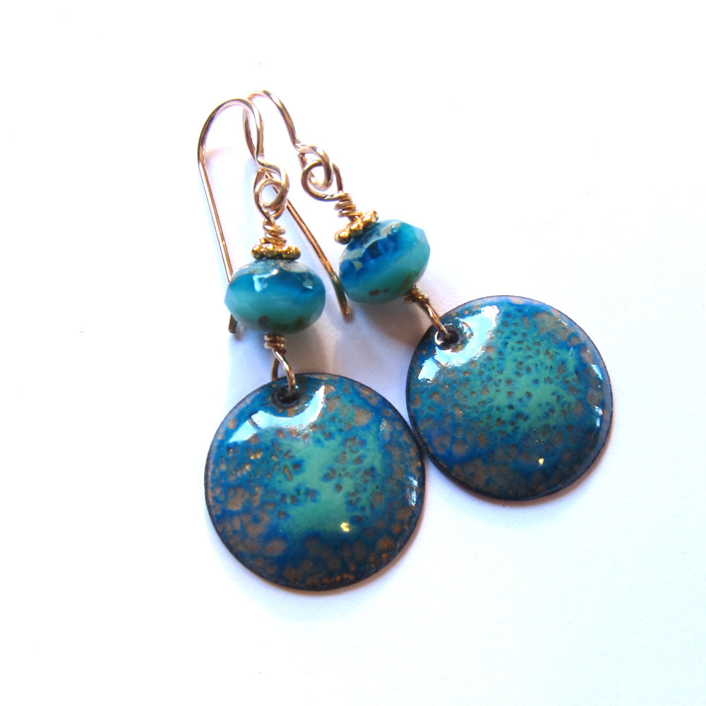 Blue and Green Enamel Disc Dangle Earrings - Gold Ear Wires