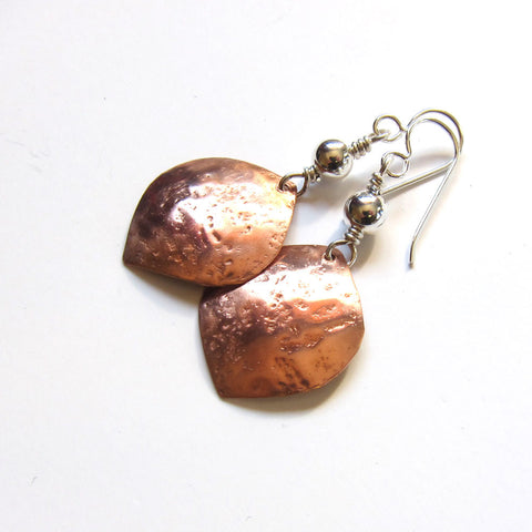 Mixed Metal Petal Earrings - Copper and Silver Dangles
