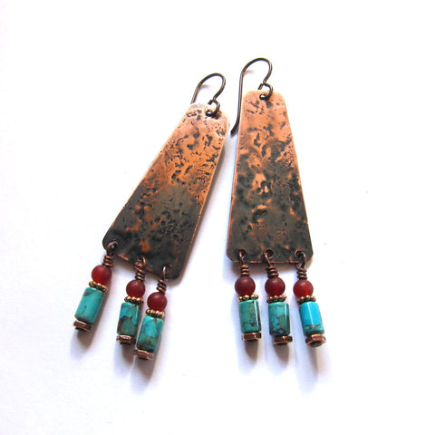 Tribal Beaded Copper Earrings - Turquoise Dangles