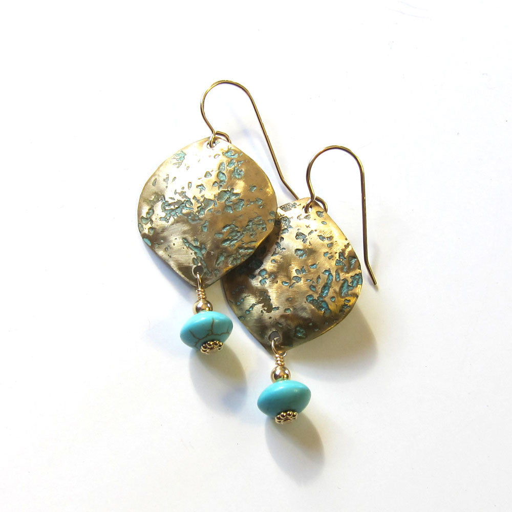 Rustic brass petal earrings - Gold and turquoise dangles
