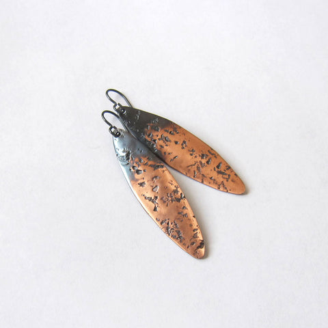 Boho Hammered Copper Marquise Dangle Earrings - Oxidized