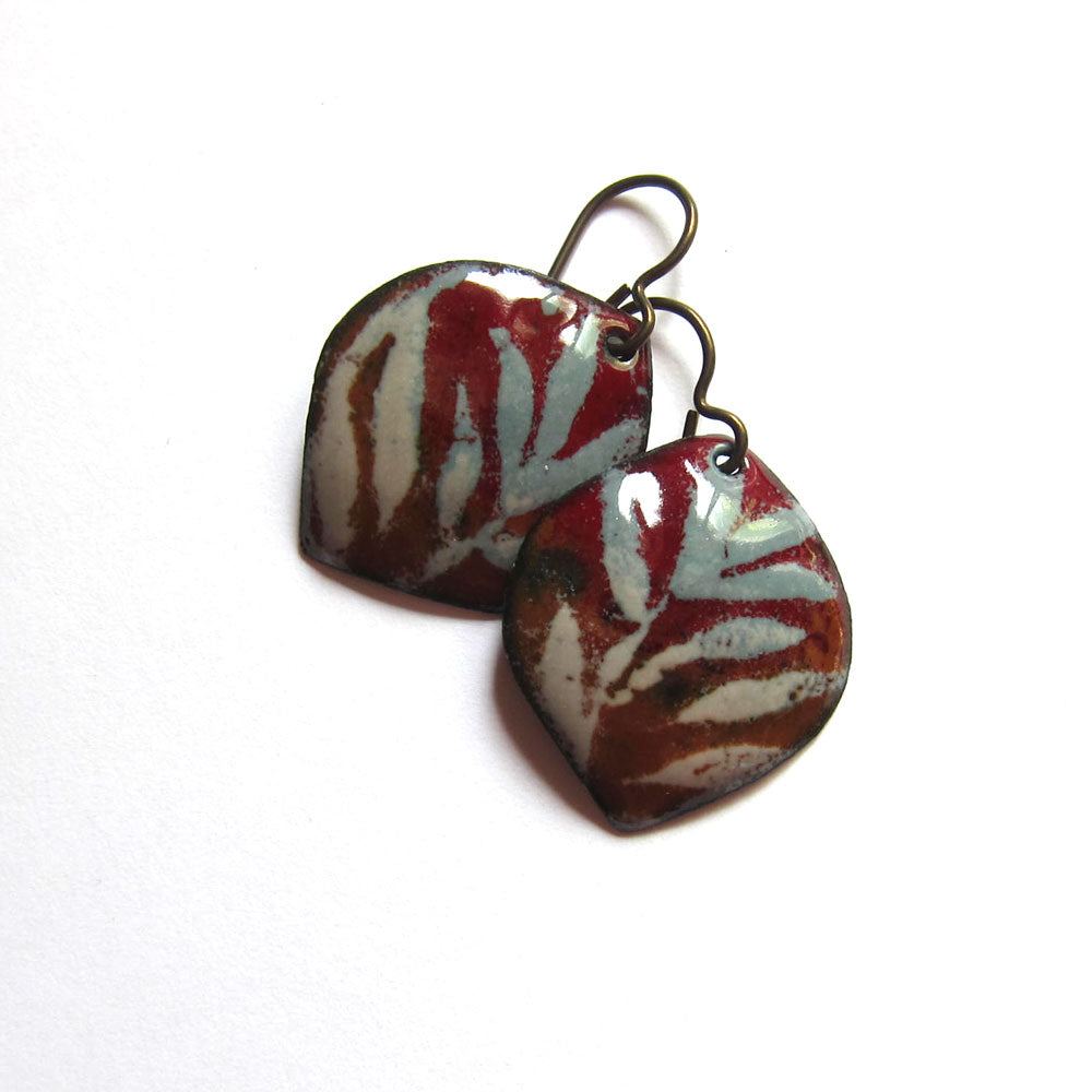 Brown and gray enamel petal earrings