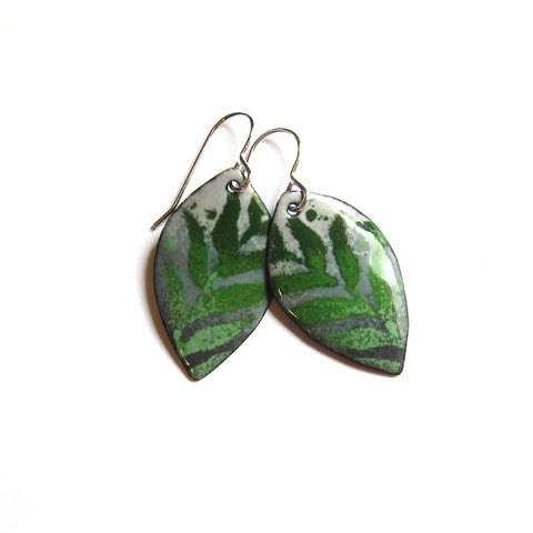 Gray and Green Enamel Leaf Earrings - Unique and Hand-painted Jewelry