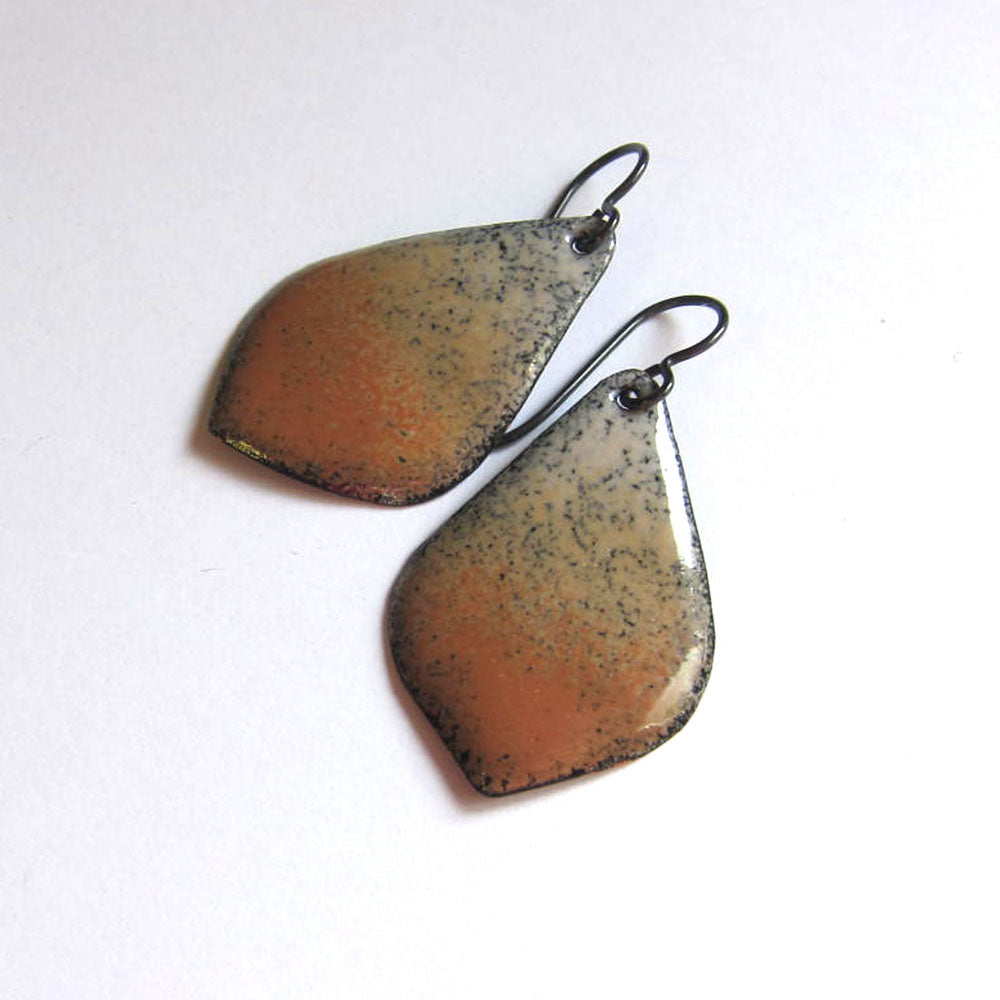 Brown and beige enamel petal earrings