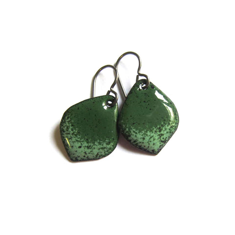 Small Green Enamel Petal Earrings - Handmade Artisan Jewelry