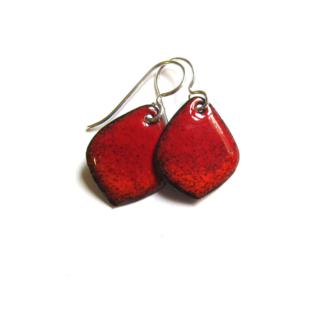 Petite Red Enamel Petal Earrings