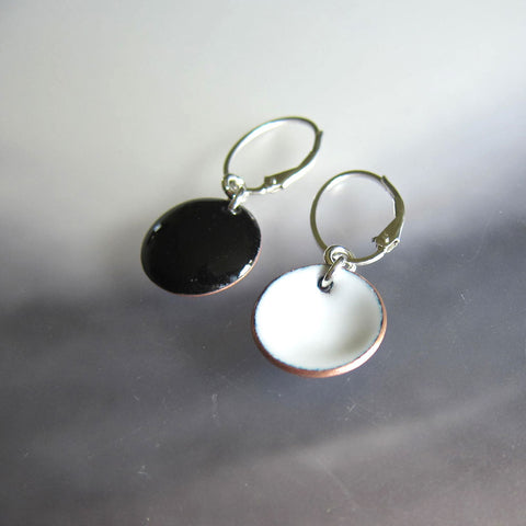 Black and White Enamel Reversible Disc Earrings on Sterling Silver Oval Leverback Wires