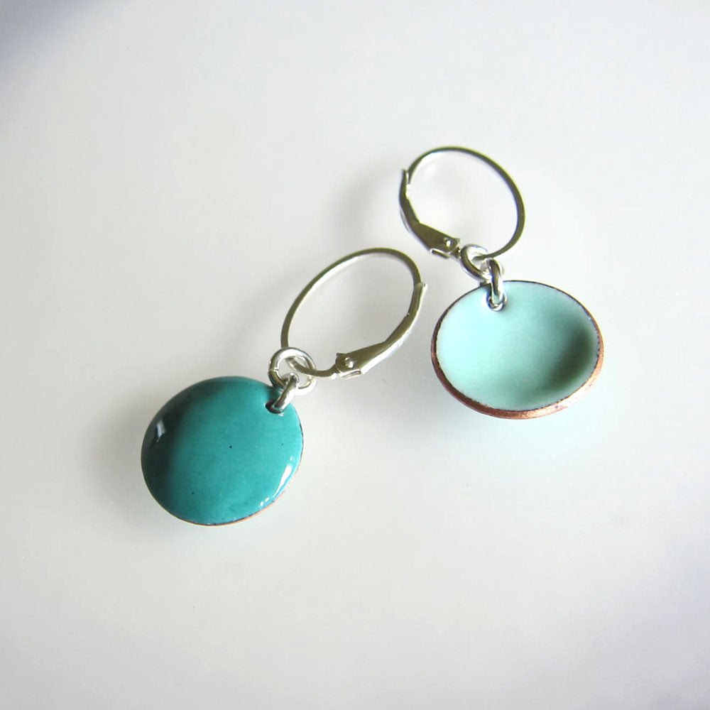reversible teal and robins egg enamel disc earrings on leverback ear wires