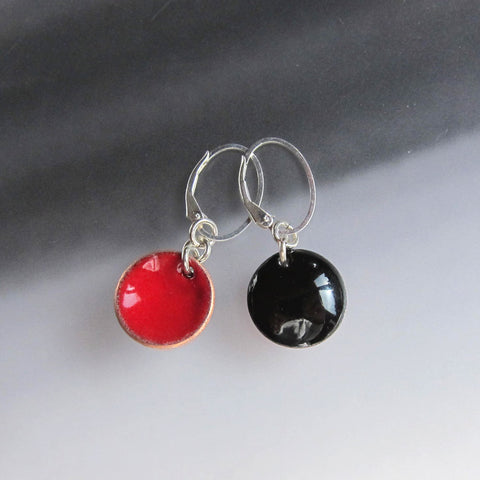Black and Red Enamel Reversible Disc Earrings on Sterling Silver Oval Leverback Wires
