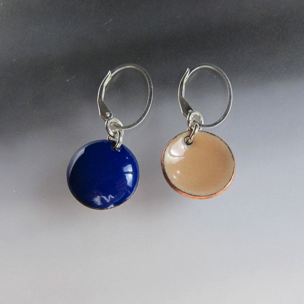 Blue and tan disc reversible earrings
