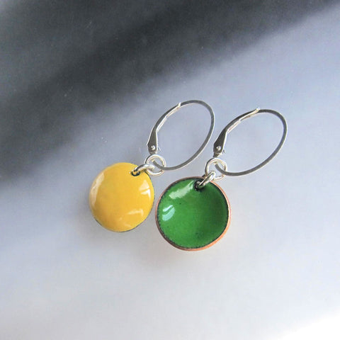 Green and Yellow Enamel Reversible Earrings - Sterling Silver Oval Leverback Wires