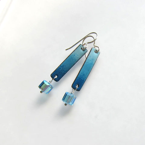 Aqua Blue Enamel Bar Earrings with Aquamarine Crystal Dangles - March Birthstone