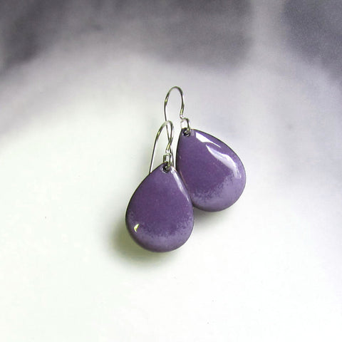 Purple Enamel Teardrop Earrings