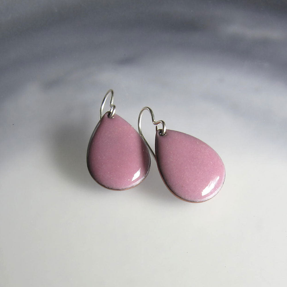 orchid pink enamel earrings