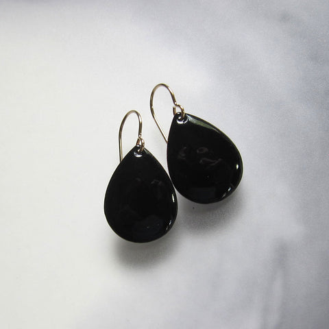 Black Enamel Teardrop Earrings