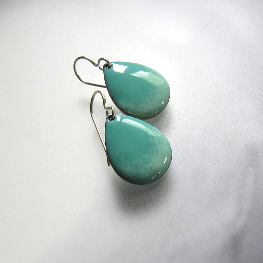 mint green and robins egg enamel teardrop earrings