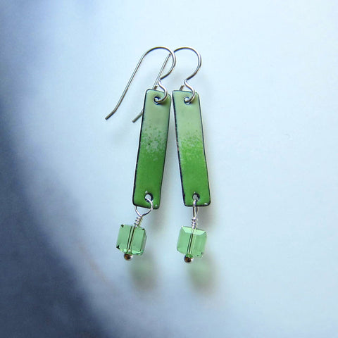 Yellow Green Enamel Bar Earrings with Peridot Crystal Dangles - August Birthstone