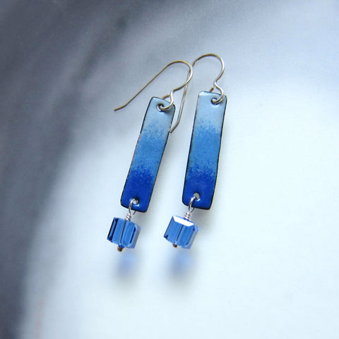 Blue Enamel Bar Earrings with Sapphire Crystal Dangles - September Birthstone