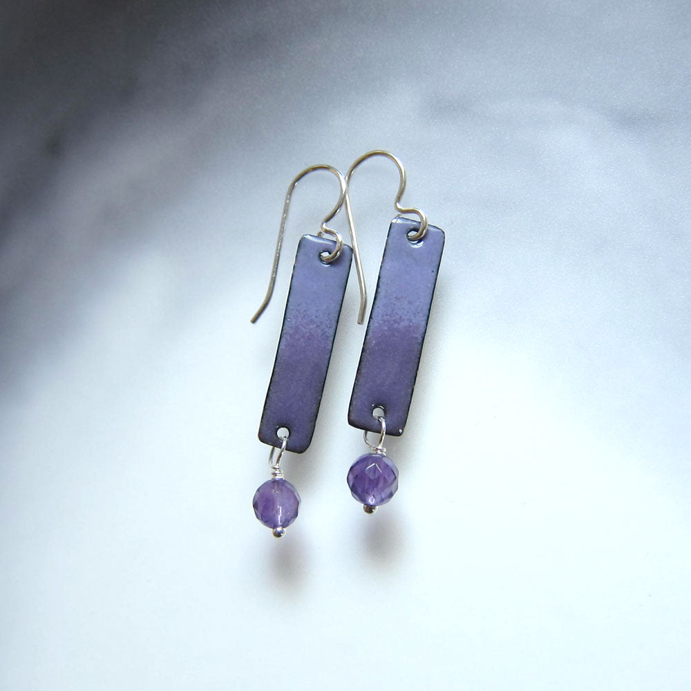 purple enamel and amethyst bar earrings