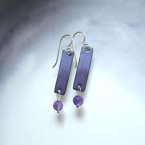 Purple Enamel Bar Earrings with Amethyst Dangles - February Birthstone
