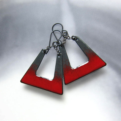 Gray and Red Enamel Square Hoop Earrings