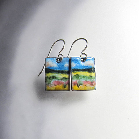 Original Watercolor Painting Enamel Earrings - Wearable Art Jewelry
