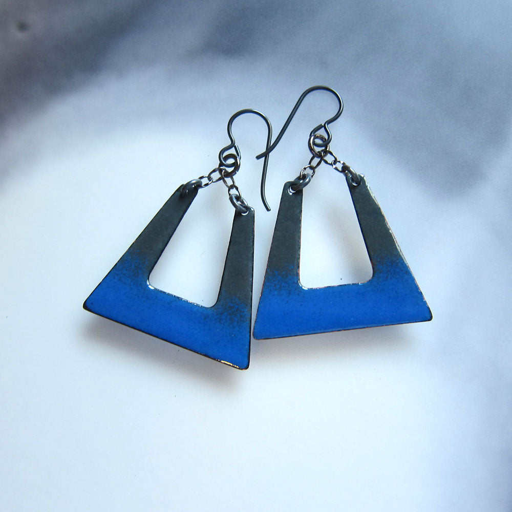 blue and gray enamel square hoop earrings