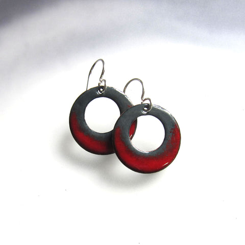 Small Red and Gray Enamel Hoop Earrings