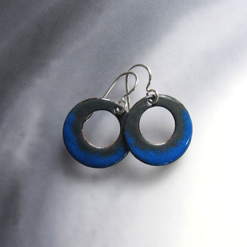 Blue and Gray Enamel Hoop Earrings
