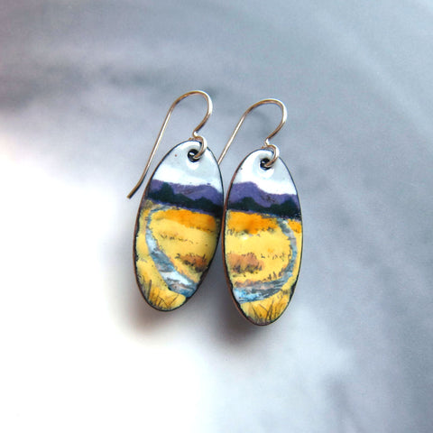 Hand-painted Landscape Earrings - Wearable Art Jewelry