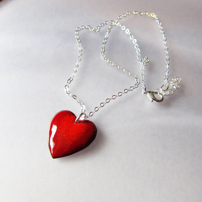 Red enamel puffy heart necklace